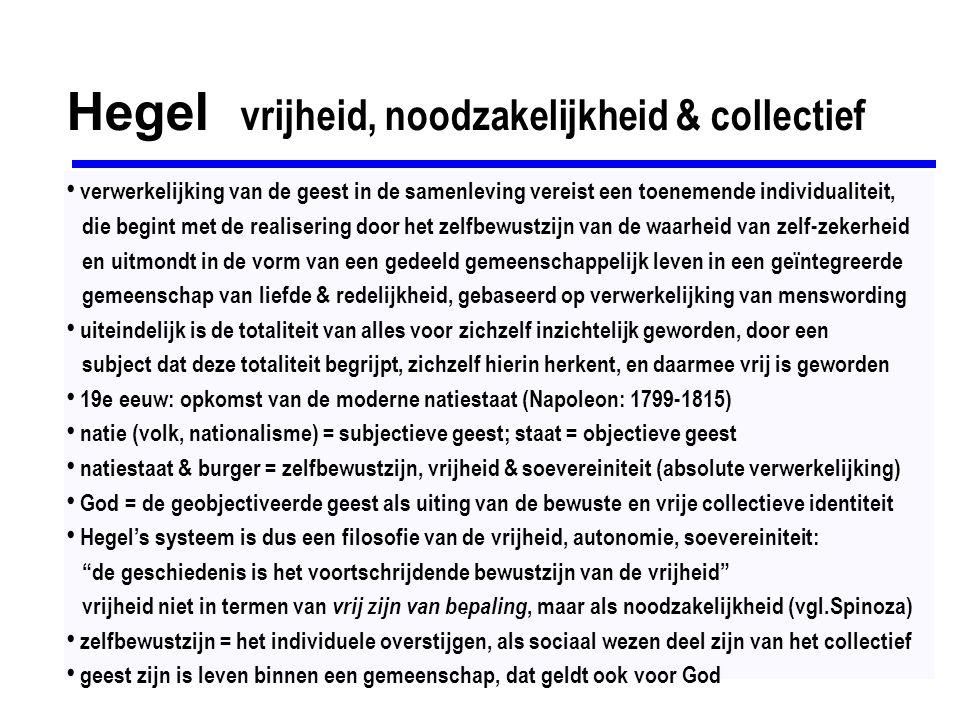 Hegel vrijheid, noodzakelijkheid & collectief verwerkelijking van de geest in de samenleving vereist een toenemende individualiteit, die begint met de