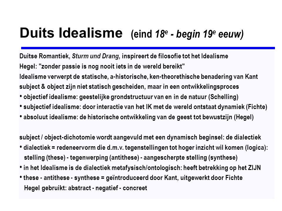 Georg Friedrich Wilhelm Hegel (1770-1831) Hegels doel is de filosofie tot voltooiing te brengen, tot ware wetenschap te maken de filosofie moet alle tegenstellingen opheffen om de absolute totaliteit te bereiken het absolute (geheel) verklaart het specifieke, elk onderdeel reflecteert het geheel identiteit van denken en zijn: de werkelijkheid = redelijk, en wat redelijk is = werkelijk subject & object, begrip & werkelijkheid, denken & zijn, veronderstellen elkaar het (Hegels) systeem = de totaliteit van de werkelijkheid = zowel substantie als subject Hegel zou in de middeleeuwse universalia-strijd de kant van de realisten kiezen DIALECTIEK: Wissenshaft der Logik (1812-1816): structuur van de werkelijkheid = dialectisch (logica) identiteit van identiteit en niet-identiteit is een universeel principe elk fenomeen kent een triadische ontwikkeling: - An-sich= abstract(these) - Anderssein= negatief(anti-these) - An-und-für-sich= concreet(synthese)