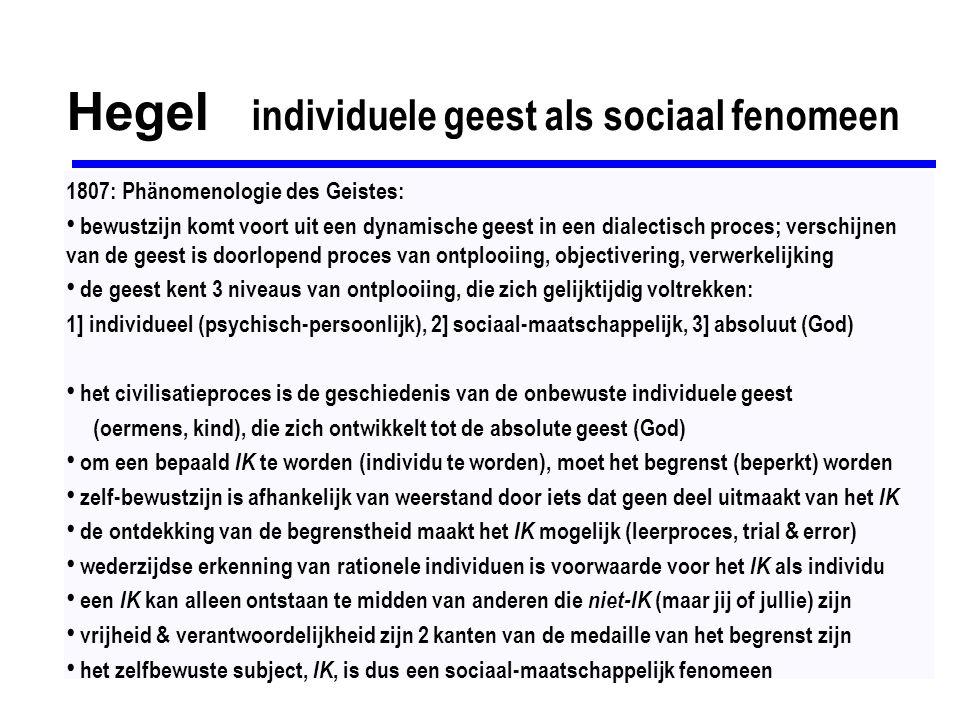 Hegel individuele geest als sociaal fenomeen 1807: Phänomenologie des Geistes: bewustzijn komt voort uit een dynamische geest in een dialectisch proce