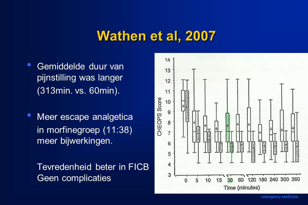 Wathen et al, 2007 Gemiddelde duur van pijnstilling was langer (313min. vs. 60min). Meer escape analgetica in morfinegroep (11:38) meer bijwerkingen.