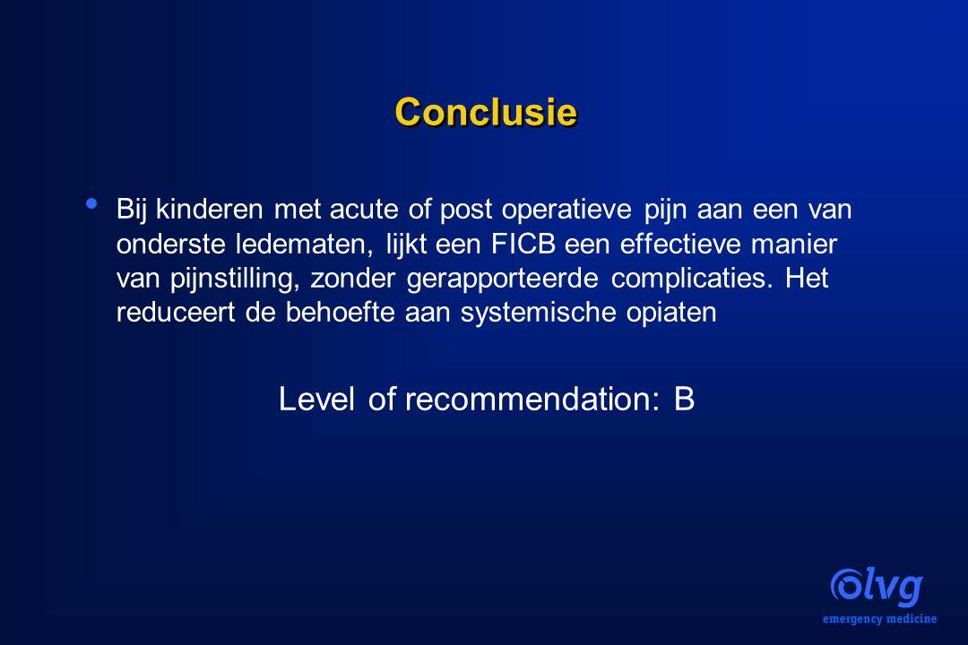 Conclusie Bij kinderen met acute of post operatieve pijn aan een van onderste ledematen, lijkt een FICB een effectieve manier van pijnstilling, zonder