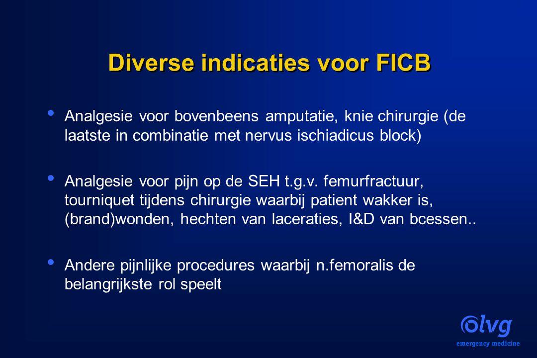 Diverse indicaties voor FICB Analgesie voor bovenbeens amputatie, knie chirurgie (de laatste in combinatie met nervus ischiadicus block) Analgesie voo