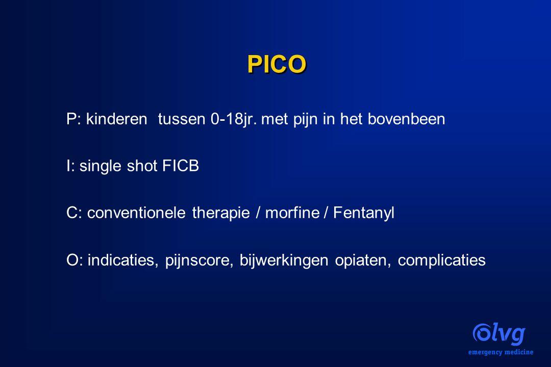 PICO P: kinderen tussen 0-18jr. met pijn in het bovenbeen I: single shot FICB C: conventionele therapie / morfine / Fentanyl O: indicaties, pijnscore,