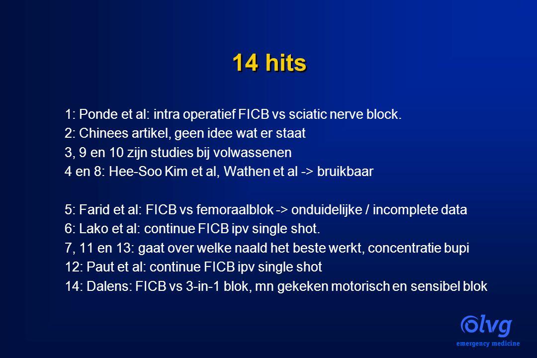 14 hits 1: Ponde et al: intra operatief FICB vs sciatic nerve block. 2: Chinees artikel, geen idee wat er staat 3, 9 en 10 zijn studies bij volwassene
