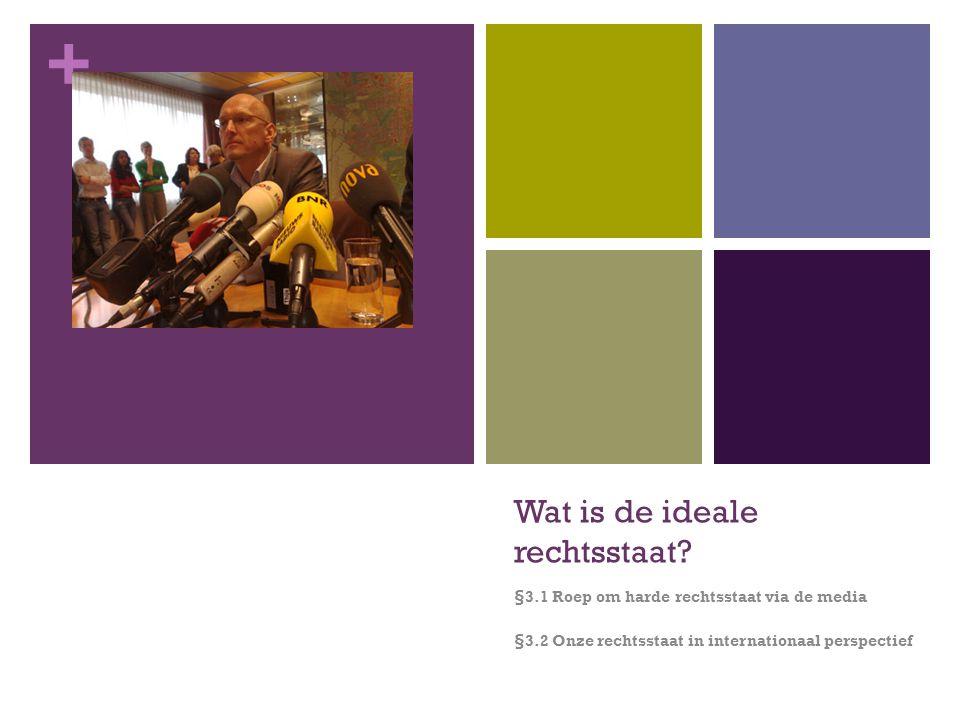+ Wat is de ideale rechtsstaat? §3.1 Roep om harde rechtsstaat via de media §3.2 Onze rechtsstaat in internationaal perspectief
