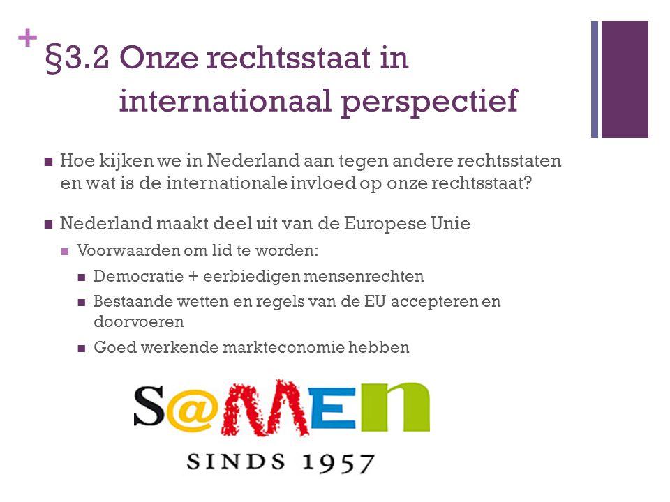 + §3.2 Onze rechtsstaat in internationaal perspectief Hoe kijken we in Nederland aan tegen andere rechtsstaten en wat is de internationale invloed op