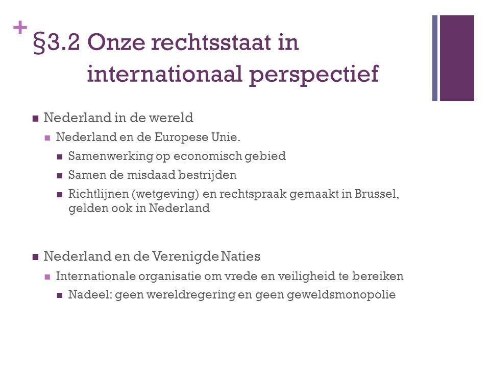 + §3.2 Onze rechtsstaat in internationaal perspectief Nederland in de wereld Nederland en de Europese Unie. Samenwerking op economisch gebied Samen de