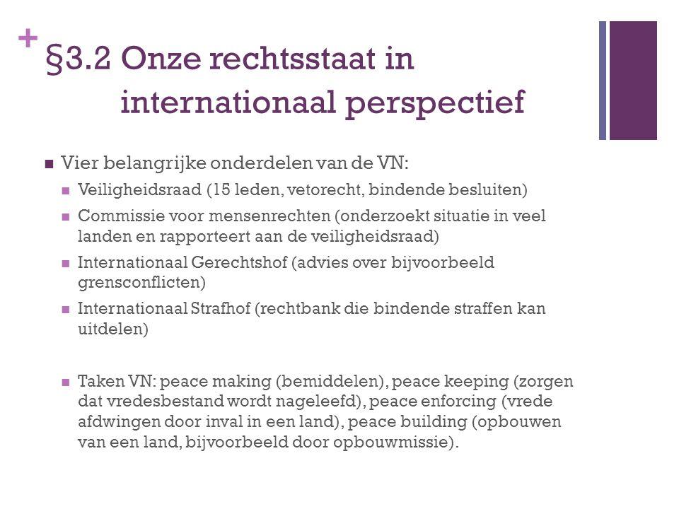 + §3.2 Onze rechtsstaat in internationaal perspectief Vier belangrijke onderdelen van de VN: Veiligheidsraad (15 leden, vetorecht, bindende besluiten)
