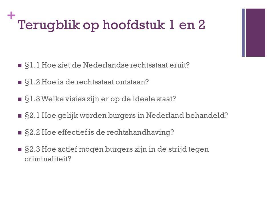 + Terugblik op hoofdstuk 1 en 2 §1.1 Hoe ziet de Nederlandse rechtsstaat eruit? §1.2 Hoe is de rechtsstaat ontstaan? §1.3 Welke visies zijn er op de i