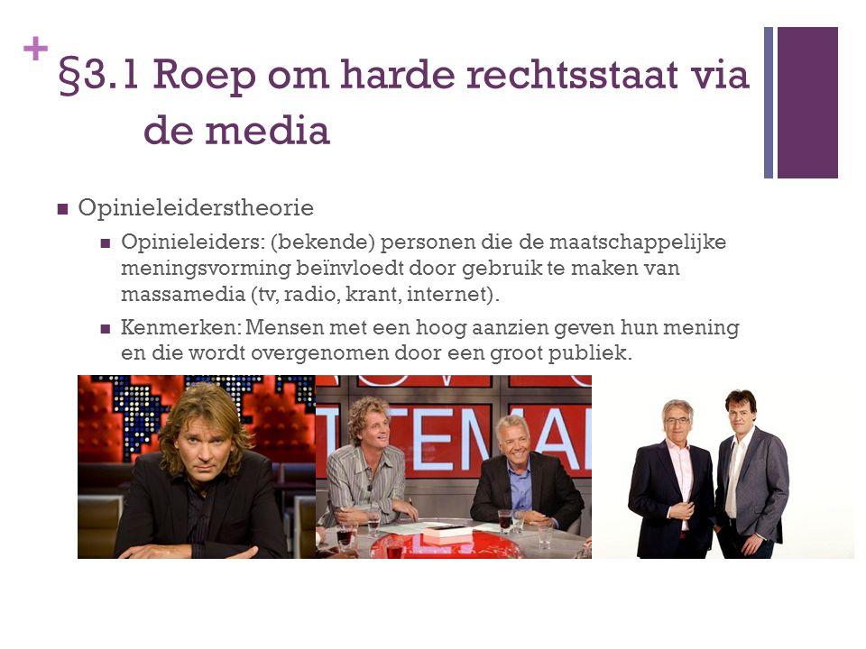 + §3.1 Roep om harde rechtsstaat via de media Opinieleiderstheorie Opinieleiders: (bekende) personen die de maatschappelijke meningsvorming beïnvloedt