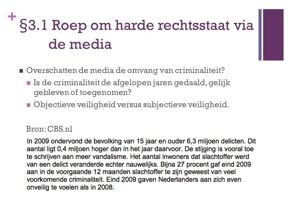 + §3.1 Roep om harde rechtsstaat via de media Overschatten de media de omvang van criminaliteit? Is de criminaliteit de afgelopen jaren gedaald, gelij