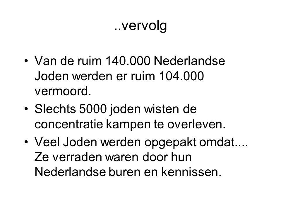 ..vervolg Van de ruim 140.000 Nederlandse Joden werden er ruim 104.000 vermoord.