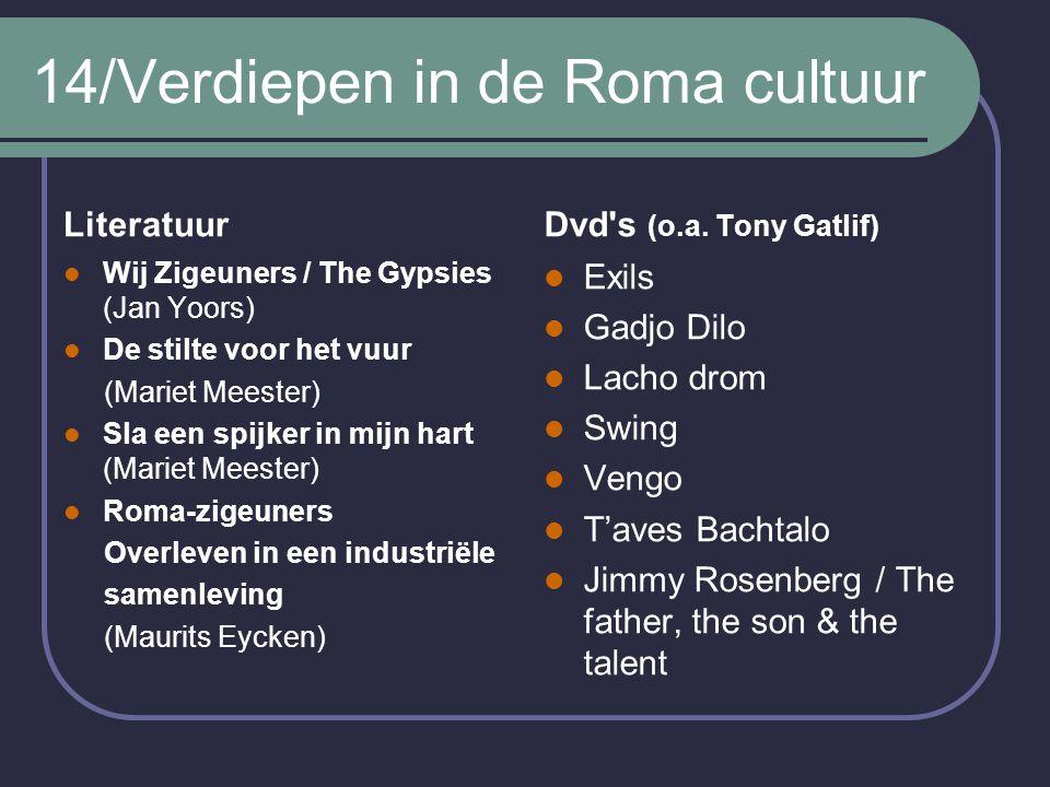 14/Verdiepen in de Roma cultuur Literatuur Wij Zigeuners / The Gypsies (Jan Yoors) De stilte voor het vuur (Mariet Meester) Sla een spijker in mijn hart (Mariet Meester) Roma-zigeuners Overleven in een industriële samenleving (Maurits Eycken) Dvd s (o.a.