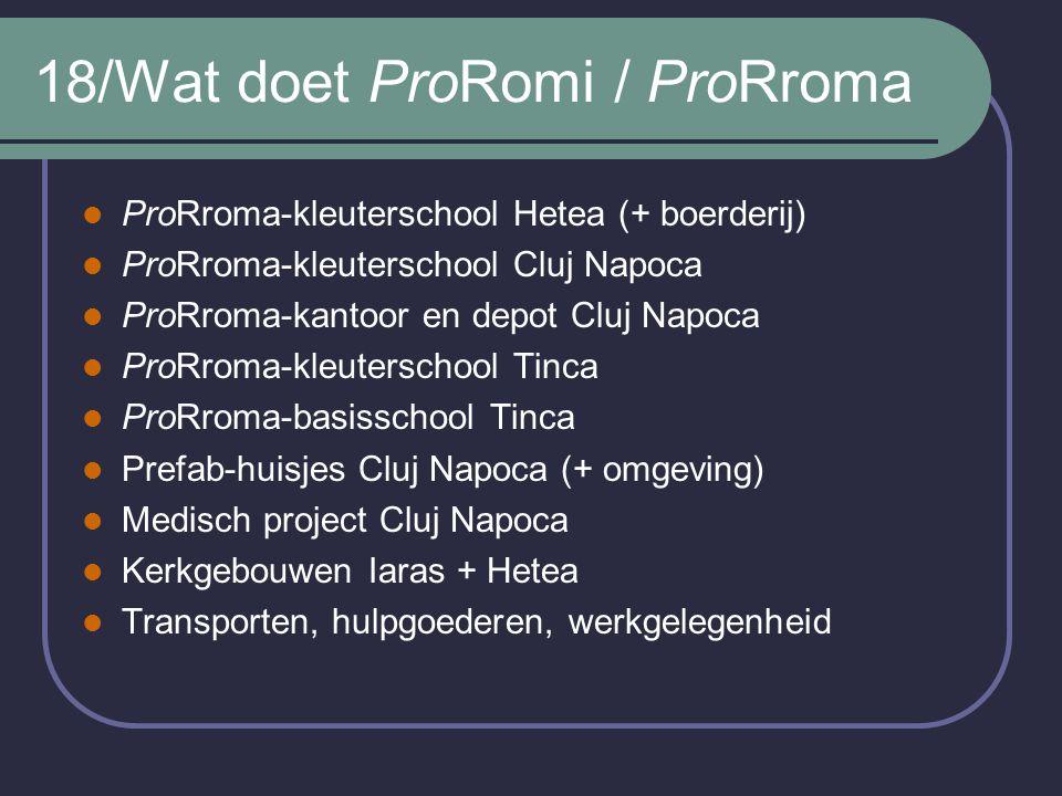18/Wat doet ProRomi / ProRroma ProRroma-kleuterschool Hetea (+ boerderij) ProRroma-kleuterschool Cluj Napoca ProRroma-kantoor en depot Cluj Napoca Pro