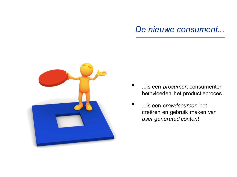 De nieuwe consument......is een prosumer; consumenten beïnvloeden het productieproces....is een crowdsourcer; het creëren en gebruik maken van user ge