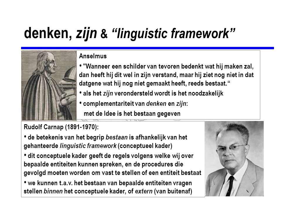 "denken, zijn & ""linguistic framework"" Anselmus"