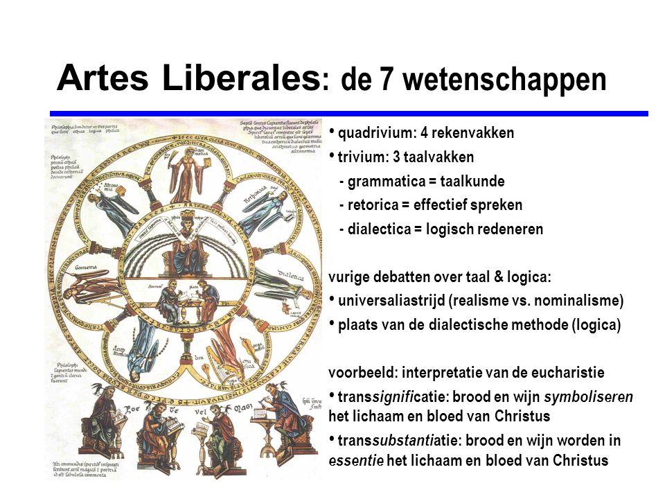 Artes Liberales : de 7 wetenschappen quadrivium: 4 rekenvakken trivium: 3 taalvakken - grammatica = taalkunde - retorica = effectief spreken - dialect