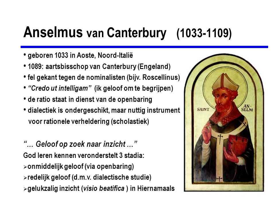 Anselmus van Canterbury (1033-1109) geboren 1033 in Aoste, Noord-Italië 1089: aartsbisschop van Canterbury (Engeland) fel gekant tegen de nominalisten