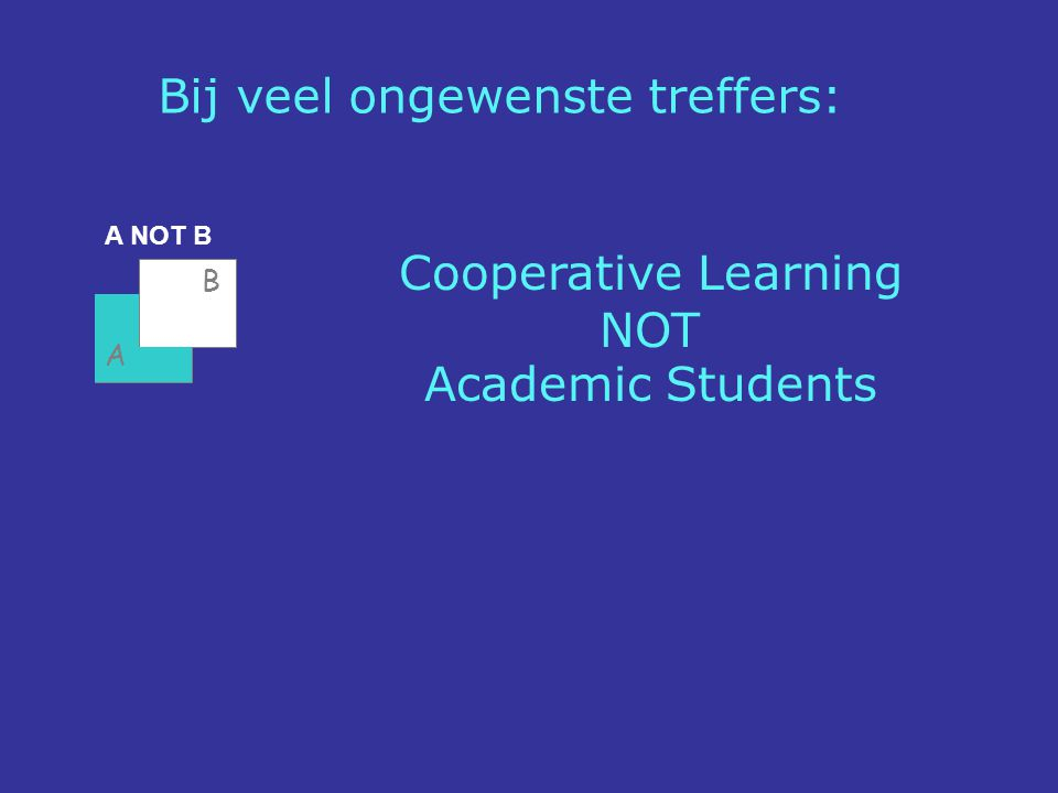 A NOT B Cooperative Learning NOT Academic Students A B Bij veel ongewenste treffers: