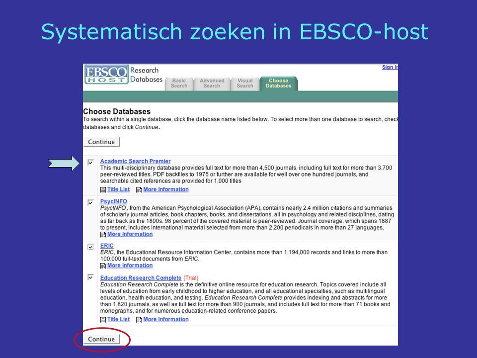 Systematisch zoeken in EBSCO-host