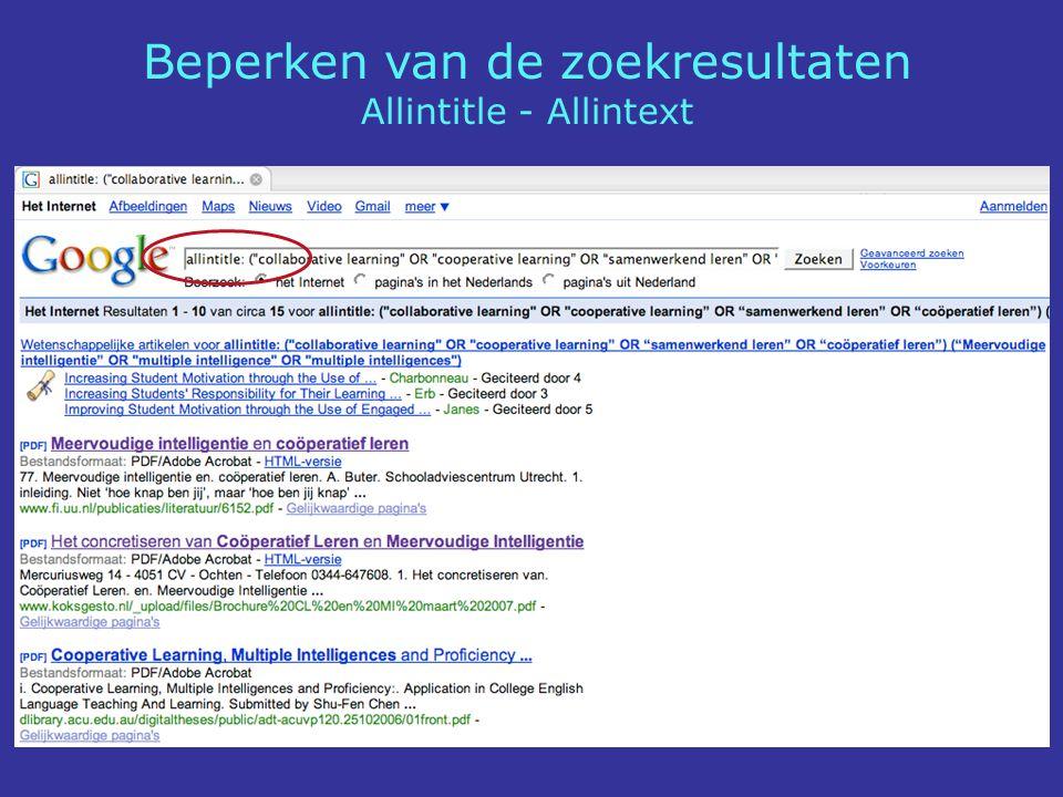 Beperken van de zoekresultaten Allintitle - Allintext