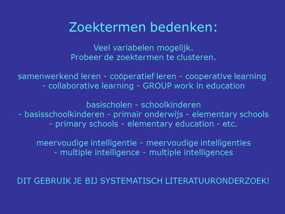 http://scholar.google.nl Bergtoppen-methode II Zoeken naar belangrijke auteurs