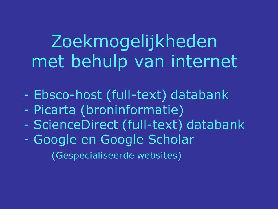 www.picarta.nl (géén full-text artikelen) Picarta is niet geschikt voor systematisch literatuuronderzoek.
