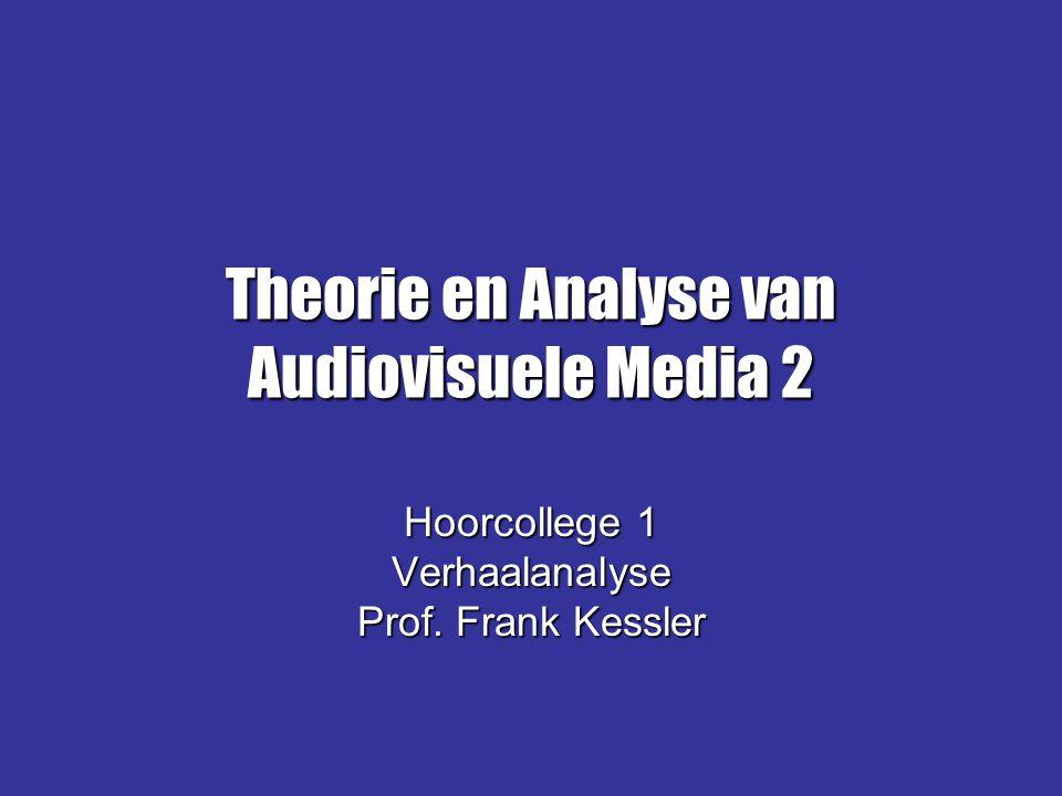 …en (hoe) nu verder: Theorien: concepten en veronderstellingen over (bv:)Theorien: concepten en veronderstellingen over (bv:) –Vorm/tekst: genre; (post)structuralisme –'Lezers': gender (verlangens; identificatie; ervaringen) –Media/technologie: media theorie –Cultuur/maatschappij: ideologie/discourse 'Analyse = Narratologie + X' (Verstraten)'Analyse = Narratologie + X' (Verstraten)