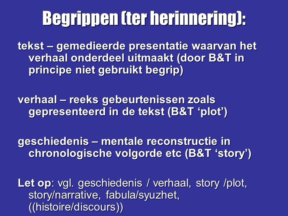tekst – gemedieerde presentatie waarvan het verhaal onderdeel uitmaakt (door B&T in principe niet gebruikt begrip) verhaal – reeks gebeurtenissen zoal