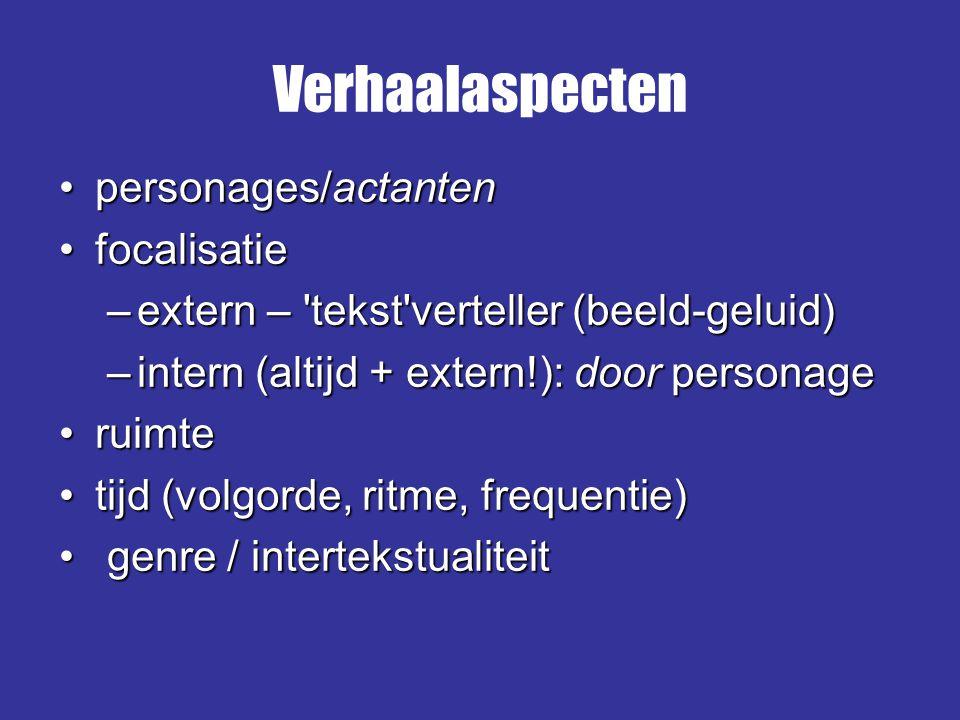 personages/actantenpersonages/actanten focalisatiefocalisatie –extern – 'tekst'verteller (beeld-geluid) –intern (altijd + extern!): door personage rui