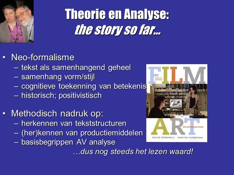 Theorie en Analyse: the story so far… Neo-formalismeNeo-formalisme –tekst als samenhangend geheel –samenhang vorm/stijl –cognitieve toekenning van bet