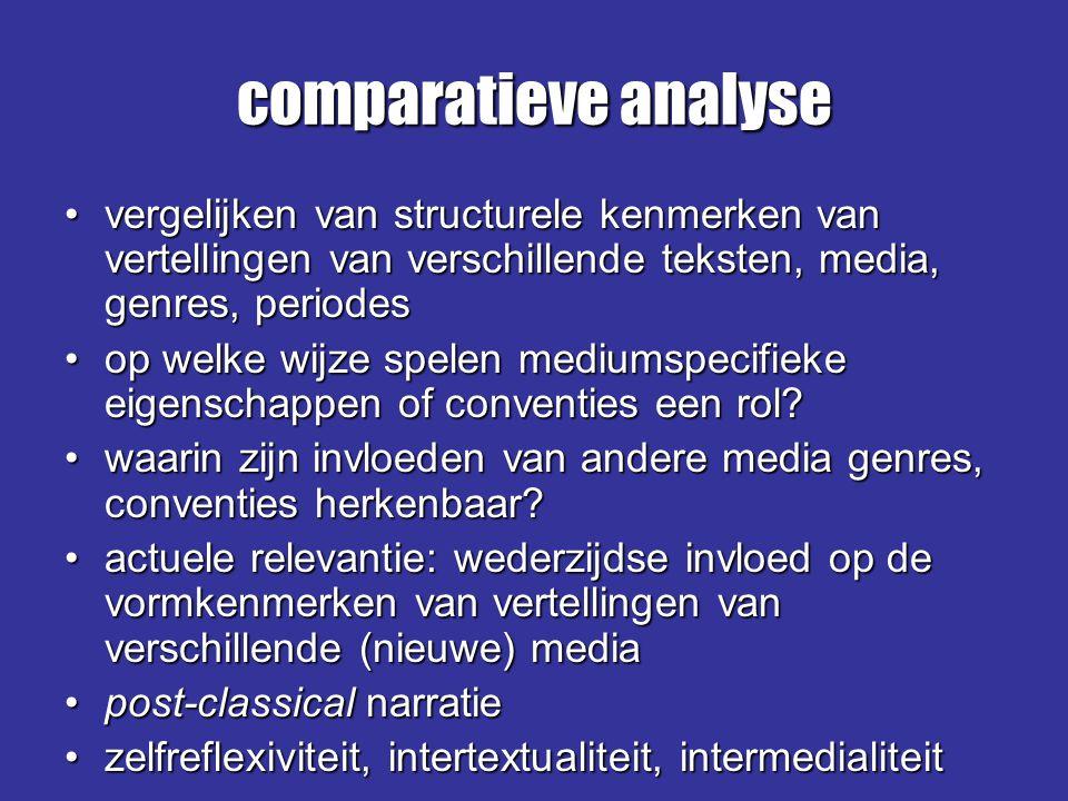 comparatieve analyse vergelijken van structurele kenmerken van vertellingen van verschillende teksten, media, genres, periodesvergelijken van structur