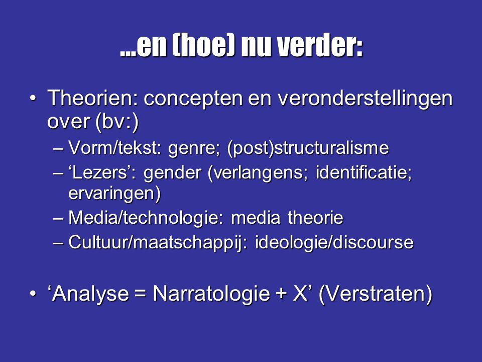 …en (hoe) nu verder: Theorien: concepten en veronderstellingen over (bv:)Theorien: concepten en veronderstellingen over (bv:) –Vorm/tekst: genre; (pos