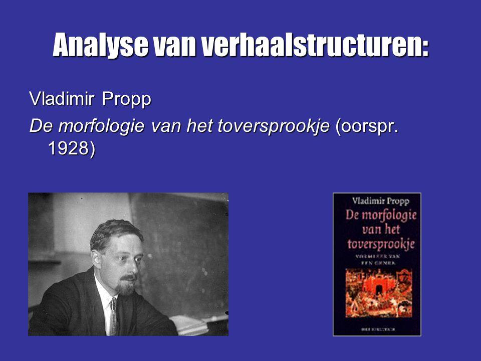 Analyse van verhaalstructuren: Vladimir Propp De morfologie van het toversprookje (oorspr. 1928)
