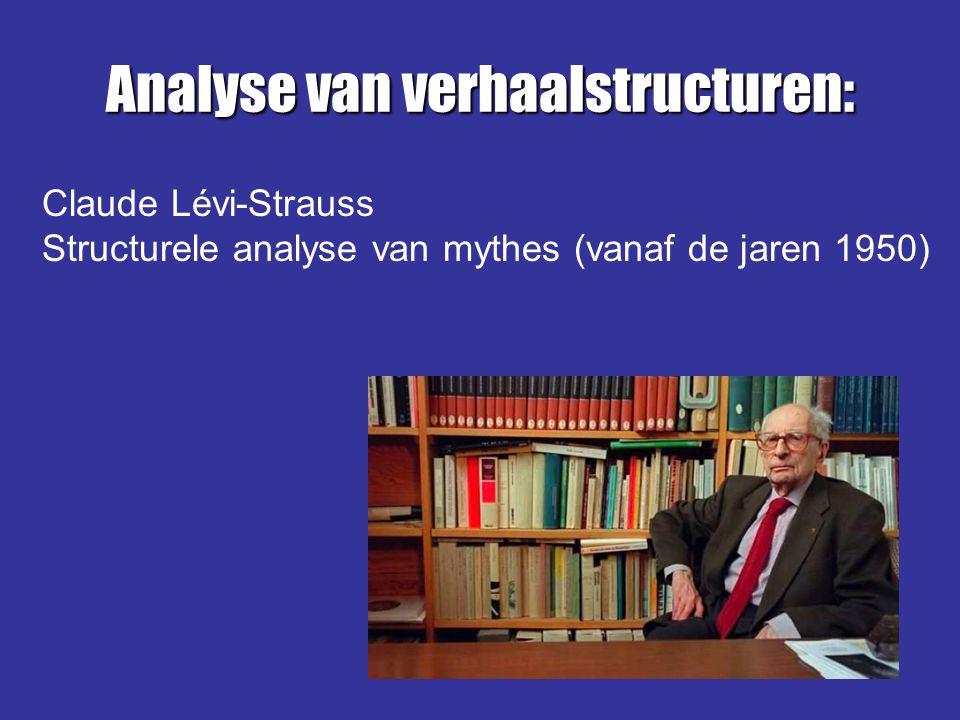 Analyse van verhaalstructuren: Claude Lévi-Strauss Structurele analyse van mythes (vanaf de jaren 1950)