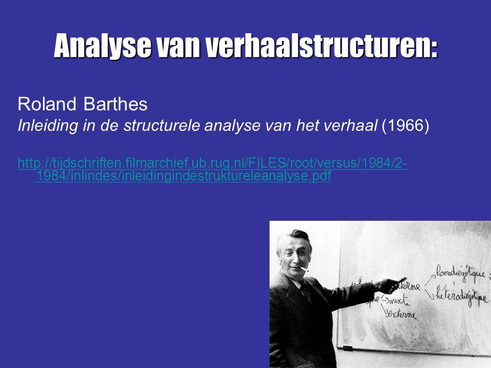 Analyse van verhaalstructuren: Roland Barthes Inleiding in de structurele analyse van het verhaal (1966) http://tijdschriften.filmarchief.ub.rug.nl/FI
