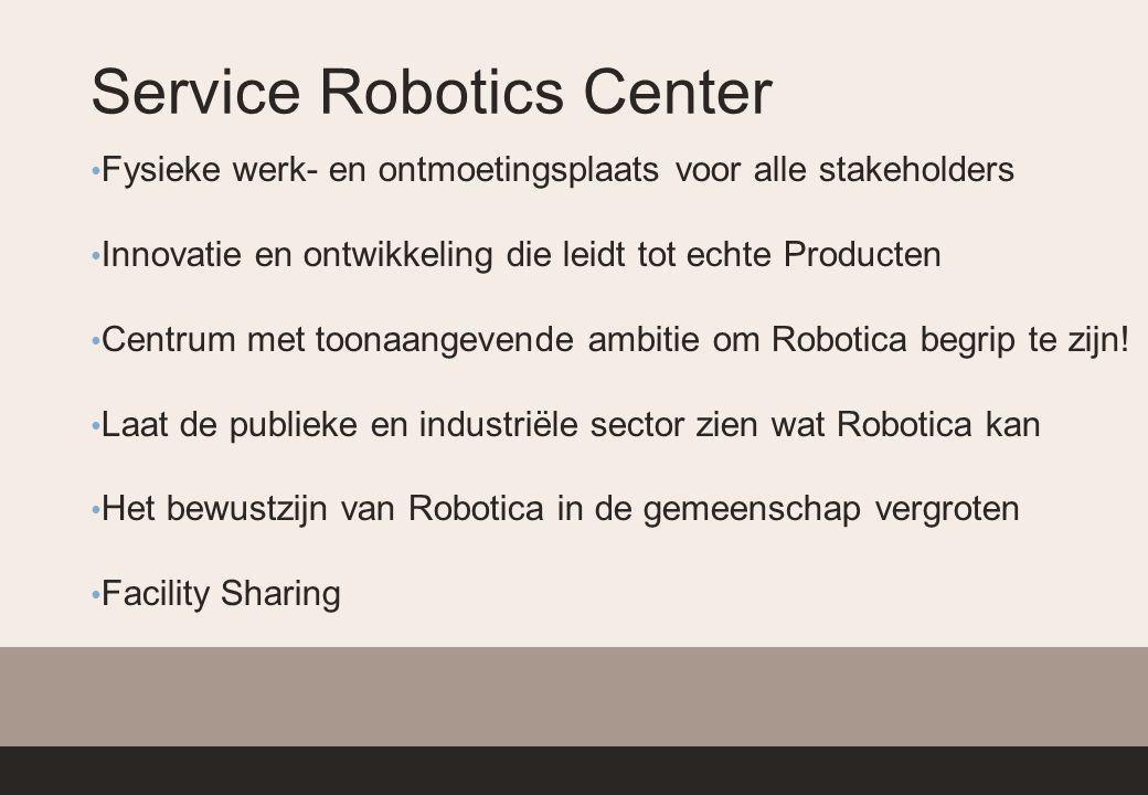 Service Robotics Center Fysieke werk- en ontmoetingsplaats voor alle stakeholders Innovatie en ontwikkeling die leidt tot echte Producten Centrum met toonaangevende ambitie om Robotica begrip te zijn.