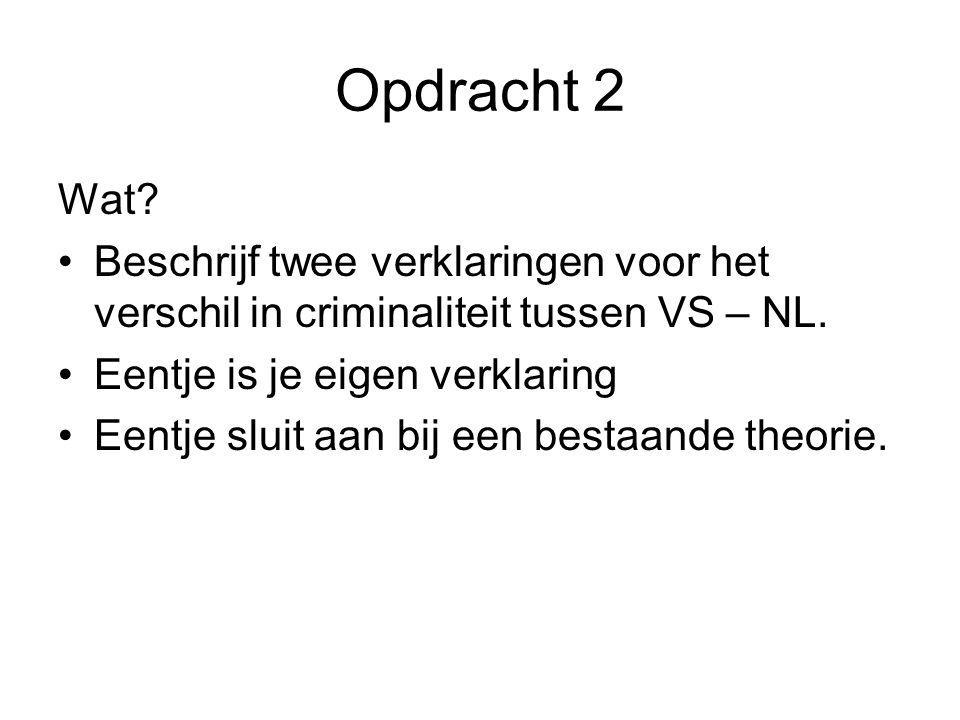 Opdracht 2 Wat? Beschrijf twee verklaringen voor het verschil in criminaliteit tussen VS – NL. Eentje is je eigen verklaring Eentje sluit aan bij een