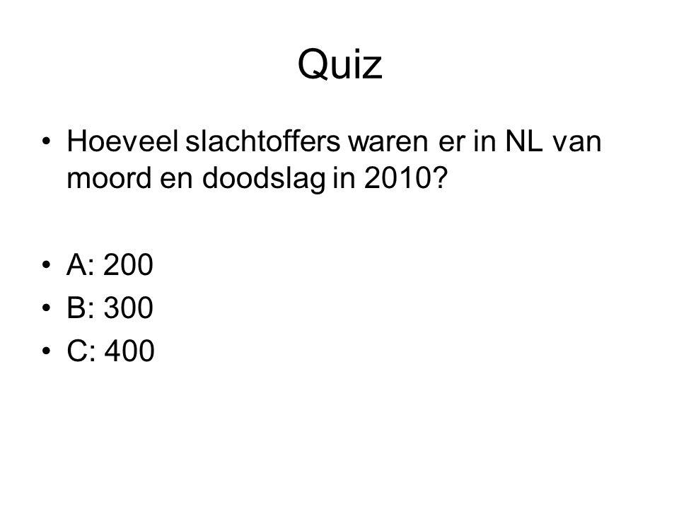Quiz Hoeveel slachtoffers waren er in NL van moord en doodslag in 2010? A: 200 B: 300 C: 400