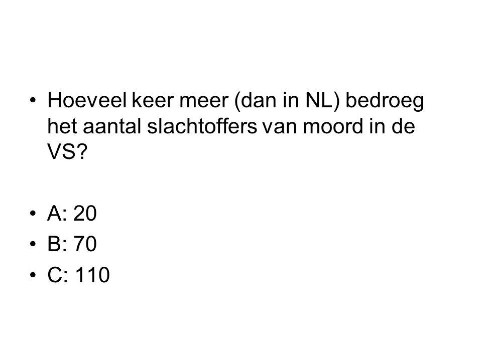 Hoeveel keer meer (dan in NL) bedroeg het aantal slachtoffers van moord in de VS? A: 20 B: 70 C: 110