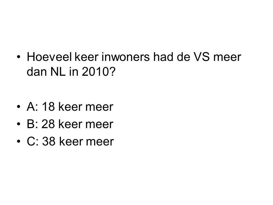 Hoeveel keer inwoners had de VS meer dan NL in 2010? A: 18 keer meer B: 28 keer meer C: 38 keer meer