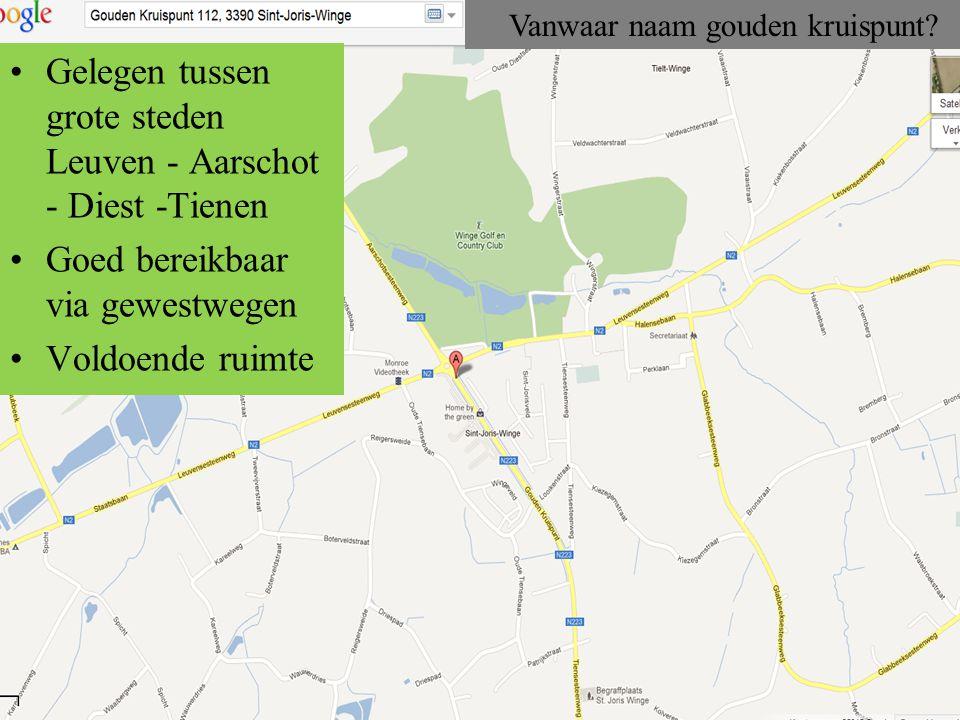 Gelegen tussen grote steden Leuven - Aarschot - Diest -Tienen Goed bereikbaar via gewestwegen Voldoende ruimte Vanwaar naam gouden kruispunt?