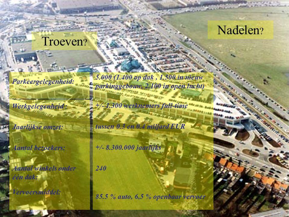 240 Aantal bezoekers: Parkeergelegenheid: 5.000 (1.400 op dak, 1.500 in nieuw parkinggebouw, 2.100 in open lucht) Werkgelegenheid : +/- 1.300 werknemers full-time Jaarlijkse omzet: tussen 0.3 en 0.4 miljard EUR 85.5 % auto, 6,5 % openbaar vervoer +/- 8.300.000 jaarlijks Aantal winkels onder één dak: Vervoersmiddel: Nadelen .
