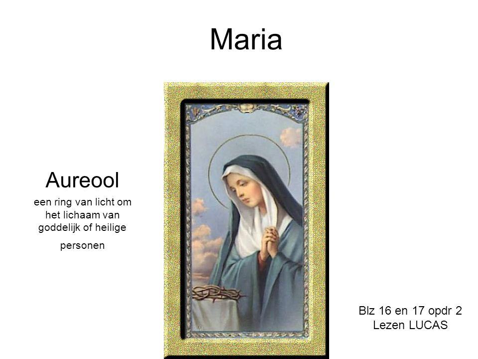 Maria Aureool een ring van licht om het lichaam van goddelijk of heilige personen Blz 16 en 17 opdr 2 Lezen LUCAS