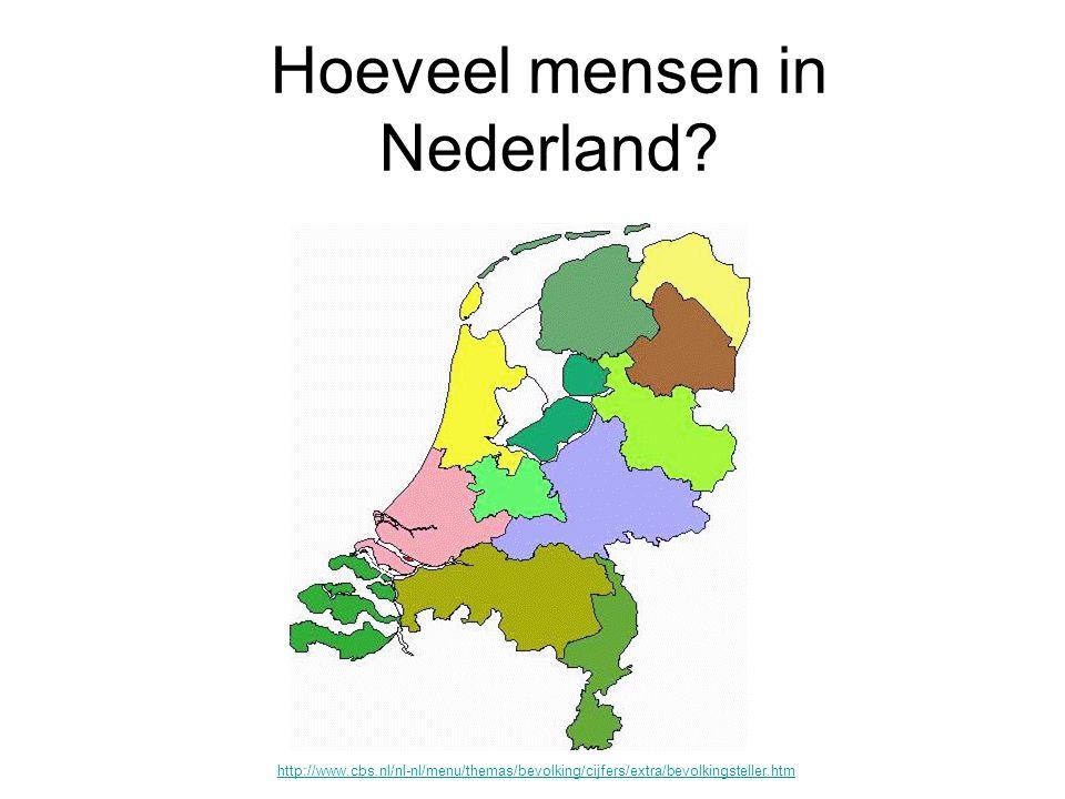 Hoeveel mensen in Nederland? http://www.cbs.nl/nl-nl/menu/themas/bevolking/cijfers/extra/bevolkingsteller.htm