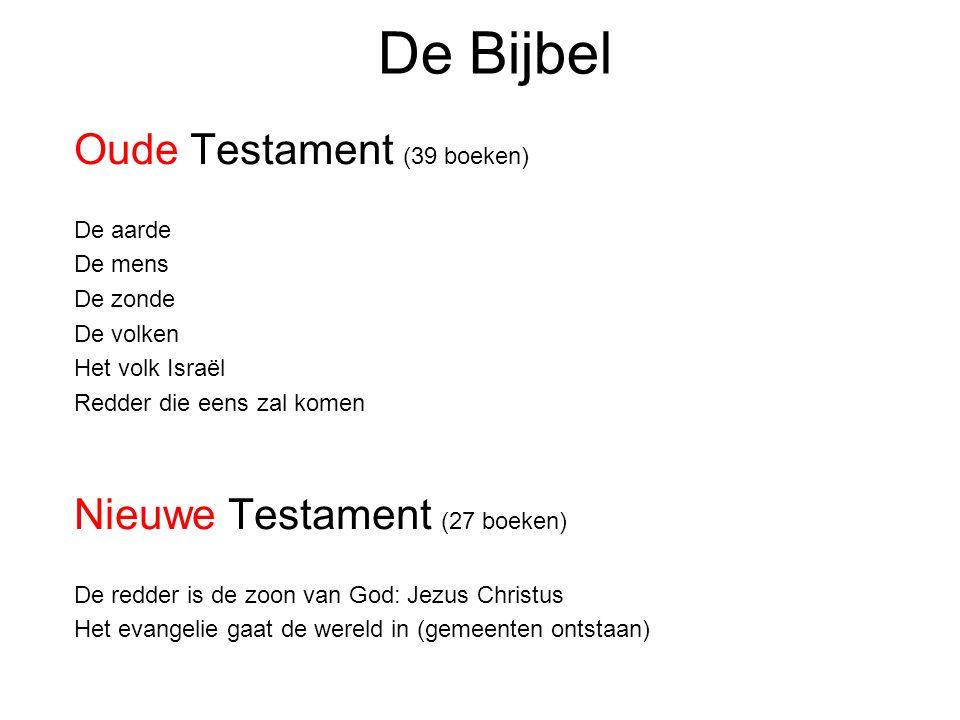 De Bijbel Oude Testament (39 boeken) De aarde De mens De zonde De volken Het volk Israël Redder die eens zal komen Nieuwe Testament (27 boeken) De red