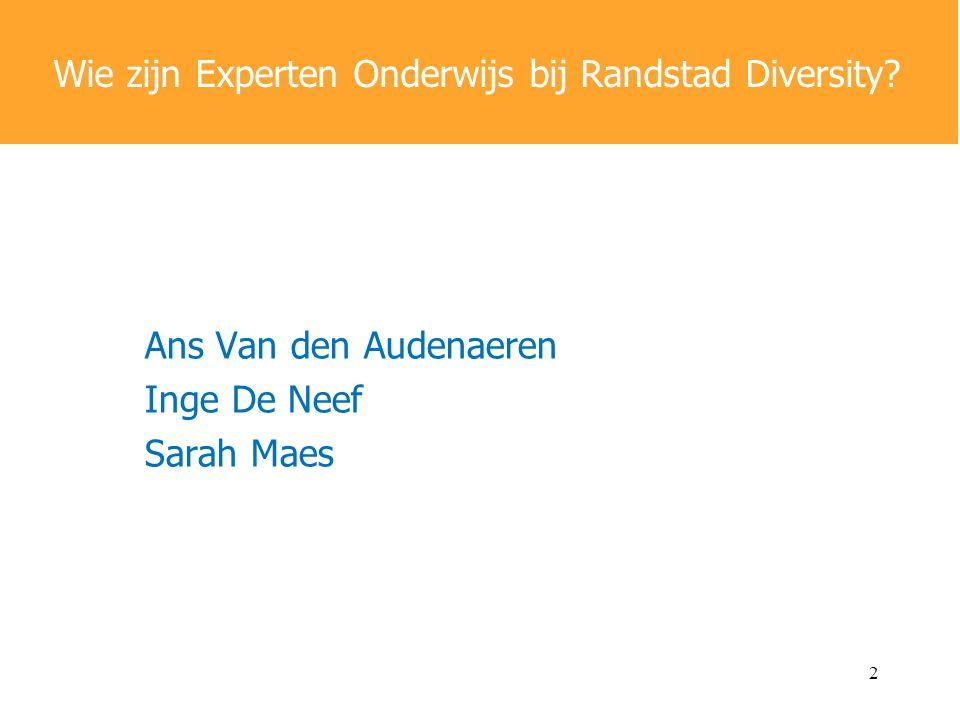 Ans Van den Audenaeren Inge De Neef Sarah Maes Wie zijn Experten Onderwijs bij Randstad Diversity.