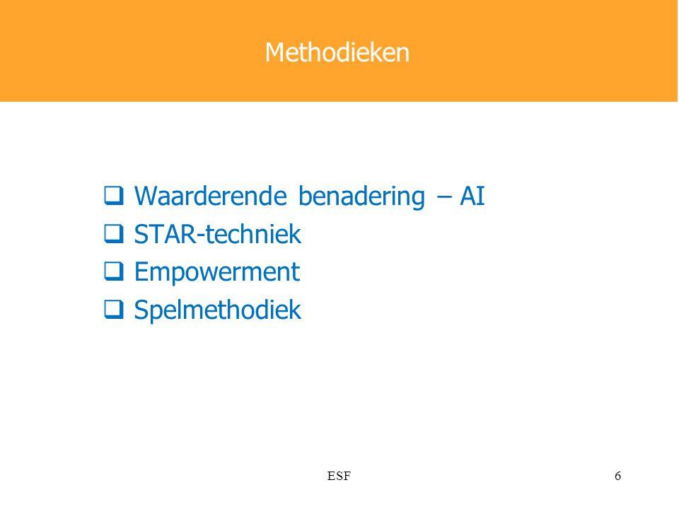  Waarderende benadering – AI  STAR-techniek  Empowerment  Spelmethodiek Methodieken 6ESF