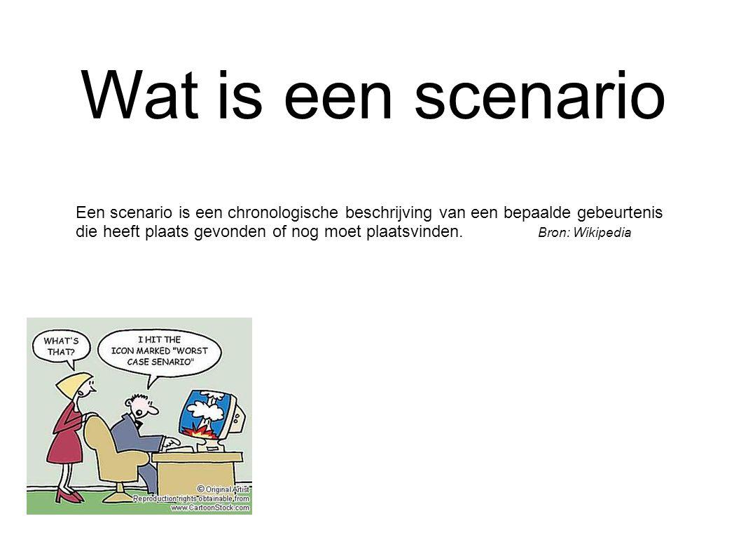 Wat is een scenario Een scenario is een chronologische beschrijving van een bepaalde gebeurtenis die heeft plaats gevonden of nog moet plaatsvinden.