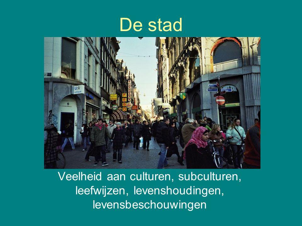 De stad Veelheid aan culturen, subculturen, leefwijzen, levenshoudingen, levensbeschouwingen